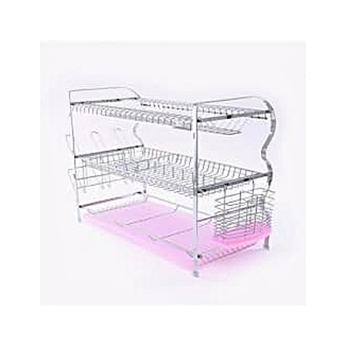 Home Choice 3 Tier Dish Drainer Stainless Steel Rack Deluxe Nigeria