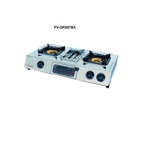 Polystar 2 burner gas stove with grill PV-GRS87BX