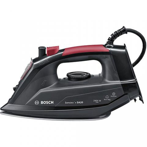 BOSCH TDA2080GB Steam Iron with 2400W Power and 300ML Water Tank Capacity in Black and Red