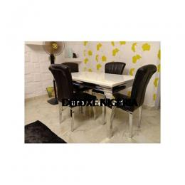 Marble Zealy Black Dinning Set Furniture + 4 Dining Chairs