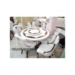 Marble Pygan Dinning Set Furniture + 6 Sitting Dining Chairs