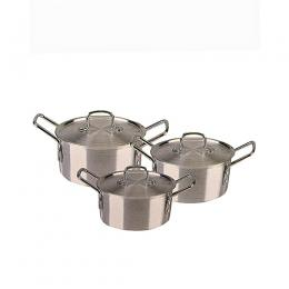 Crownstar Aluminium Pot Set - 3 Pots And 3 Lids - 6 Pcs