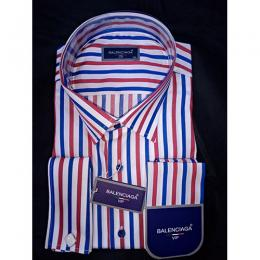 BALENCIAGA DESIGNER'S VIP BLUE RED STRIPED MEN'S SHIRT(AVAILABLE IN ALL SIZES)