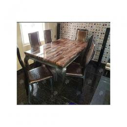 Dining Table Marble With Six Sitting Chairs