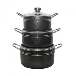 Crownstar 3 Pcs Nonstick Pot Set Black