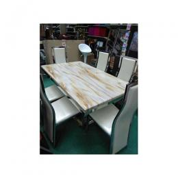 Gold Marble Dinning With 6 Chairs