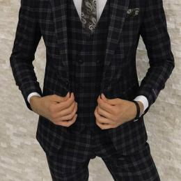 CONTEMPORARY BLACK ON STRIPED 3 PIECE MEN'S SUIT|SUT 016 (AVAILABLE IN ALL SIZES)