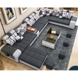 ZR Trump Sectional Sofa+Table+4 Ottomans