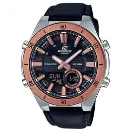 CASIO GENT'S ERA-110GL-1AVDF ROSE GOLD BEZEL BLACK LEATHER WATCH