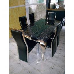 Oxlyn 6 Seater Marble Dining Set With Sliver Legs