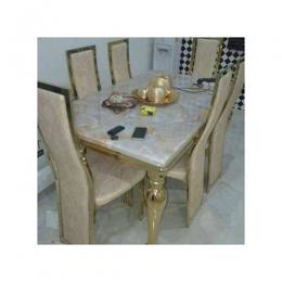 Gold Marble Dinning With 6 Chairs (1)