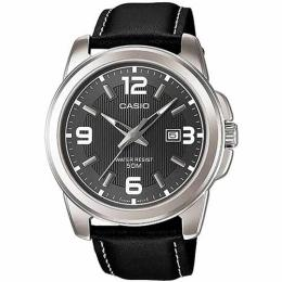 CASIO GENT'S MTP-1314L-8AVDF ENTICER BLACK LEATHER MEDIUM WATCH