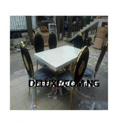 Exotic Gold Marble Dinning With 6 Chairs