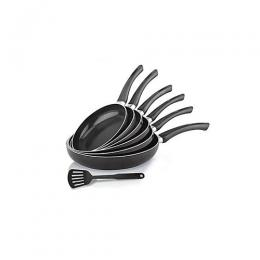 HOME TOUCH 7Pcs Non-stick Frying Pan Set - Black