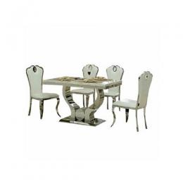 4 Seater Executive Marble Dining Set - White