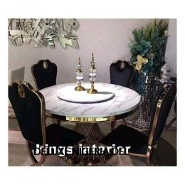 Exquisite Round Italian Marble Dinning With 6 Chairs