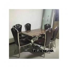 Marble Acal Dinning Set Furniture +6 Dining Chairs