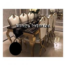 Exquisite Gold Marble Dinning With 8 Chairs