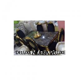 Gold Marble Dinning Set Furniture + 6 Chairs