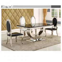4 Seater Executive Marble Dining Set - BLACK