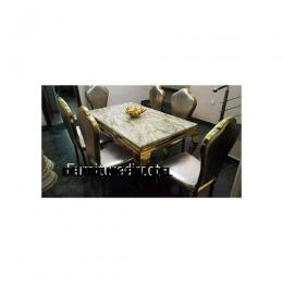 Marble Goldan Dining Set Furniture + 6 Dinning Chairs