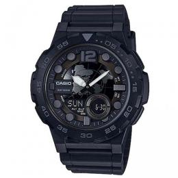 CASIO AEQ100W-1BV MEN'S ANALOG DIGITAL METALLIC 3D DIAL BLACK RESIN WATCH