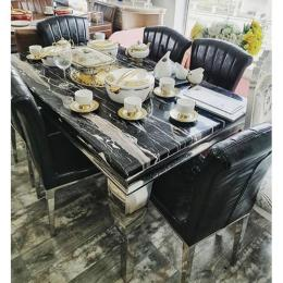Leveluk JWILTON Marble Dining Table Set With Chairs