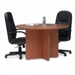 Round Meeting Table / 2 Leather Chairs (Combo Offer)