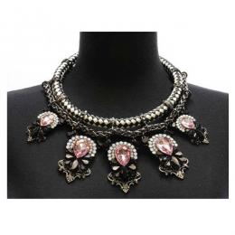 2 Piece Cord With Crystal Necklace Set
