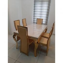 Leveluk JWILTON Marble Dining Table Set With Chairs (I)