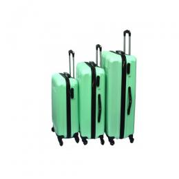 4 wheel ABS Woman Luggage Travel Bag Rolling Luggage (green)