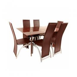 Dining Table Set with 6 chairs (Brown)
