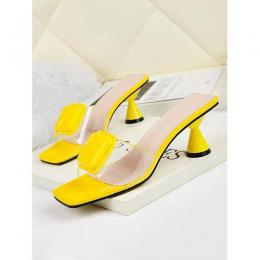 ELEGANT WOMEN'S ROUND LOW HEEL FOOT WEAR|YELLOW(AVAILABLE IN ALL SIZES)