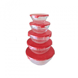 Sumo Premium 5pcs Glass Bowl WithSumo Premium 5pcs Glass Bowl With Cover-Red Cover-Red