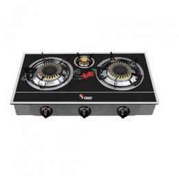 Saisho Three Burner Gas Stove (Black and Red Stripe) | S-306BR