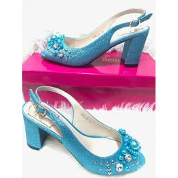 WOMEN'S STYLISH MID LOW HEEL SHOE|BLUE (AVAILABLE IN ALL SIZES)