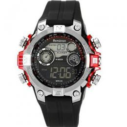 ARMITRON 40/8251RED Men's Black Digital With Red Metallic Accents Strap Watch