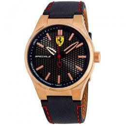 FERRARI 830382 MEN'S SPECIALE ROSE-GOLD NAVY BLUE LEATHER WATCH