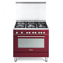 ELBA 9S4 ER 688 F RED BURGUNDY 6 GAS BURNER + GAS OVEN COOKER