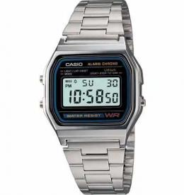 CASIO A158W-1 MEN'S CLASSIC DIGITAL STAINLESS STEEL BRACELET WATCH