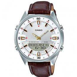 CASIO GENT'S AMW-830L-7AVDF ENTICER ANALOG-DIGITAL BROWN LEATHER WATCH