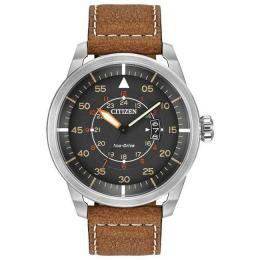 CITIZEN AW1361-10H MEN'S ECO-DRIVE BROWN LEATHER STRAP WATCH