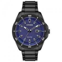 CITIZEN AW1585-55L MEN'S AR ECO-DRIVE BLUE DIAL BLACK BRACELET WATCH