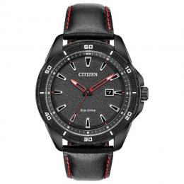 CITIZEN AW1585-04E AR MEN'S ECO-DRIVE BLACK DIAL RED ACCENT LEATHER WATCH