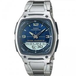 CASIO AW81D-2AV MEN'S ANALOG-DIGITAL BLUE FACE/ SILVER BAND SMALL SIZE WATCH