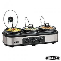 Bella Triple Slow Cooker And Warming Station Stainless Steel
