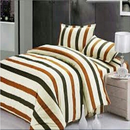 Deluxe Cream Long Stripe Bedsheet