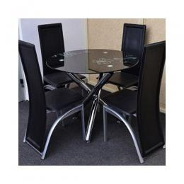 Dining Set with 4 Chairs (Black)