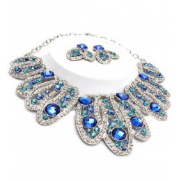 Blue Crystal Necklace Set