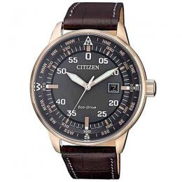 CITIZEN BM7393-16H MEN'S ECO-DRIVE ANALOG BROWN LEATHER WATCH
